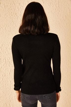 Bianco Lucci Kadın Siyah Yakası Ve Kolları Fırfırlı Triko Bluz 4
