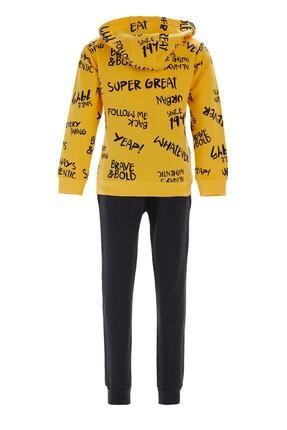 Defacto Fit Erkek Çocuk Sarı Kapüşonlu Sweatshirt Ve Jogger Eşofman Takım 1
