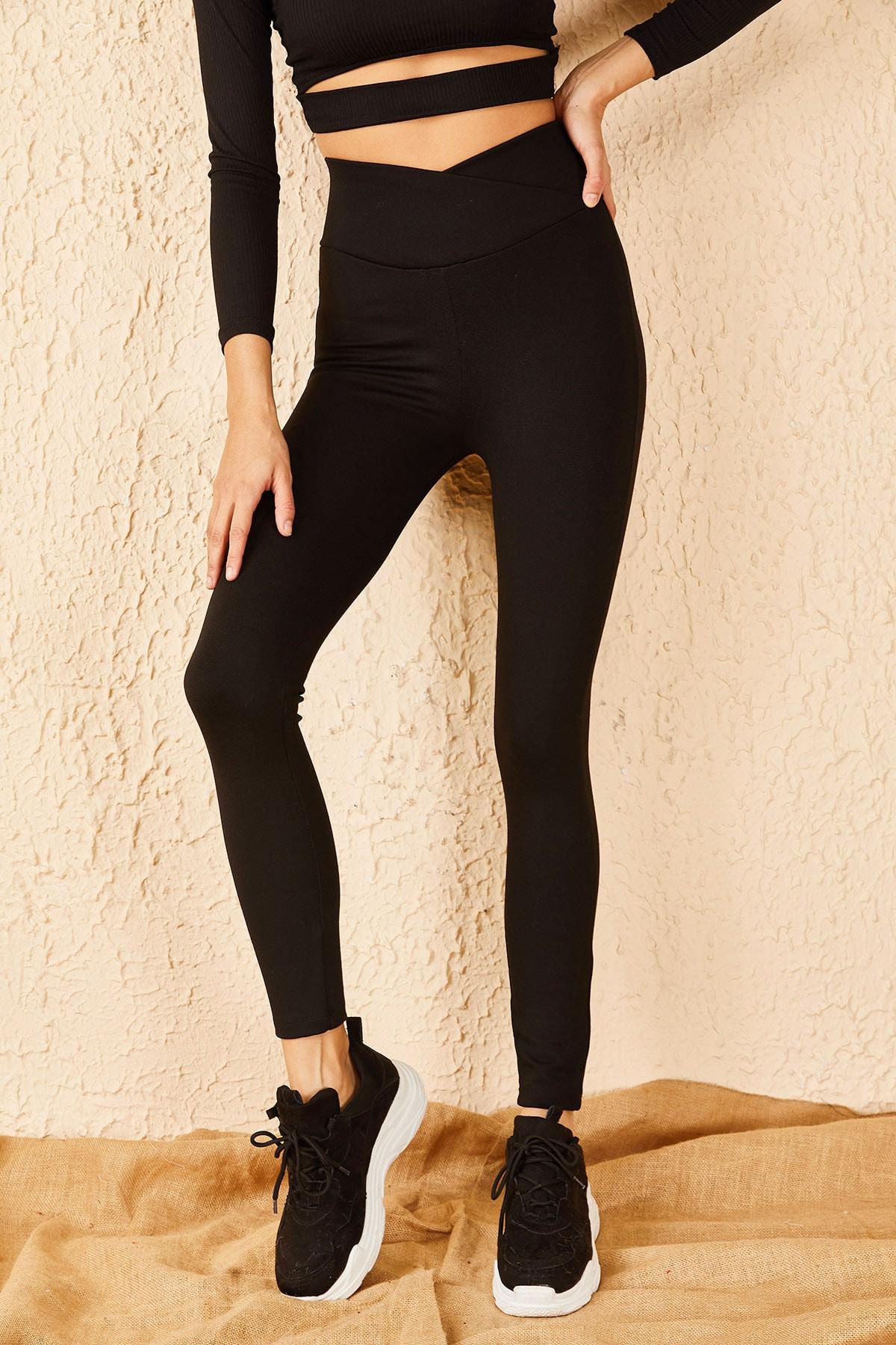 Bianco Lucci Kadın Siyah V Uzun Kemerli Çelik Örme Tayt 10191038 2