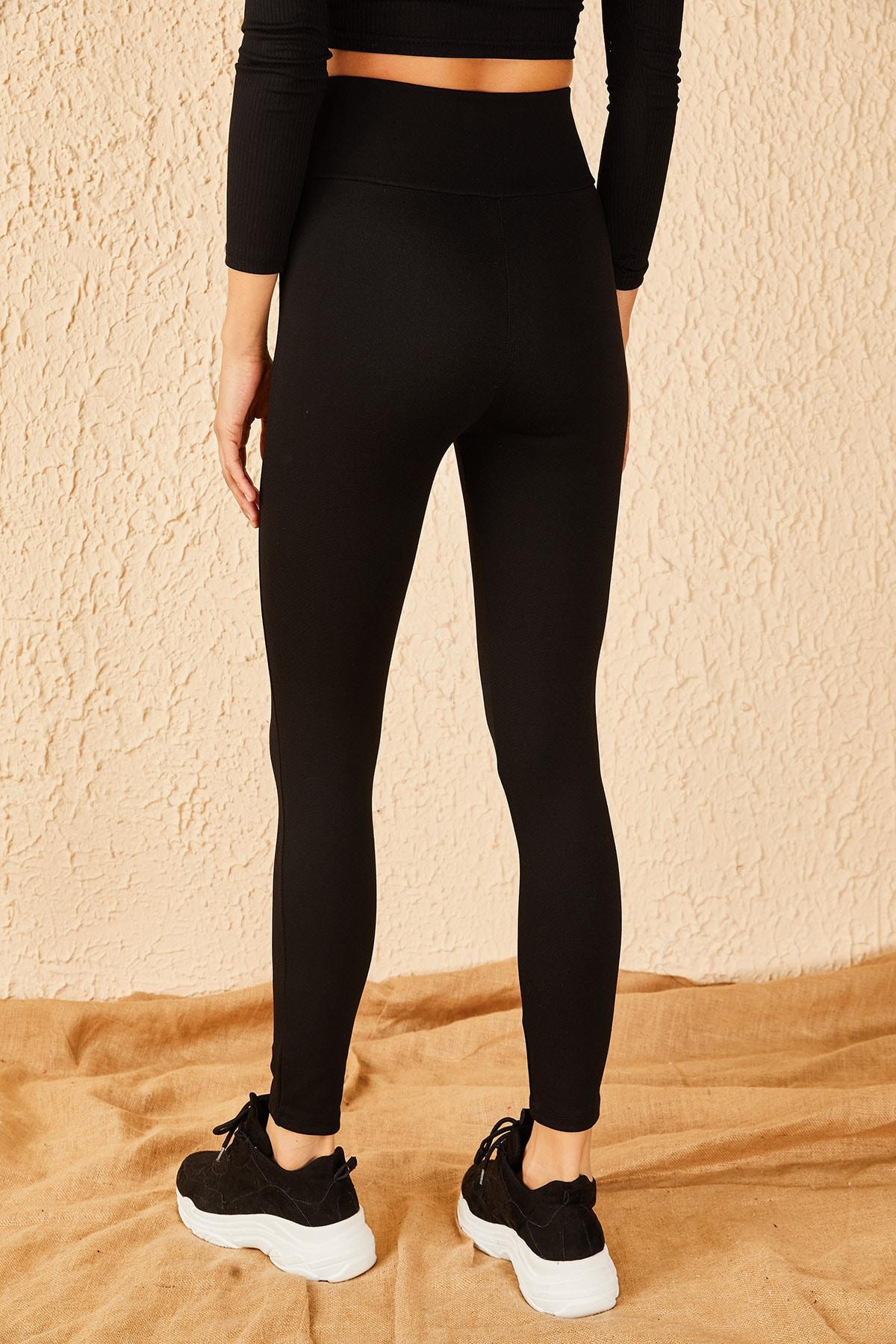 Bianco Lucci Kadın Siyah V Uzun Kemerli Çelik Örme Tayt 10191038 3