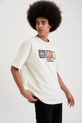 Defacto Erkek Ekru Transformers Lisanslı Oversize Fit Bisiklet Yaka T-Shirt 4
