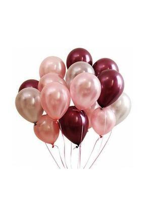 Magic Hobby 2 Adet 7'li Balon Standı Ve 14 Adet Rose Gold- Gümüş - Bordo Metalik Balon Set 1
