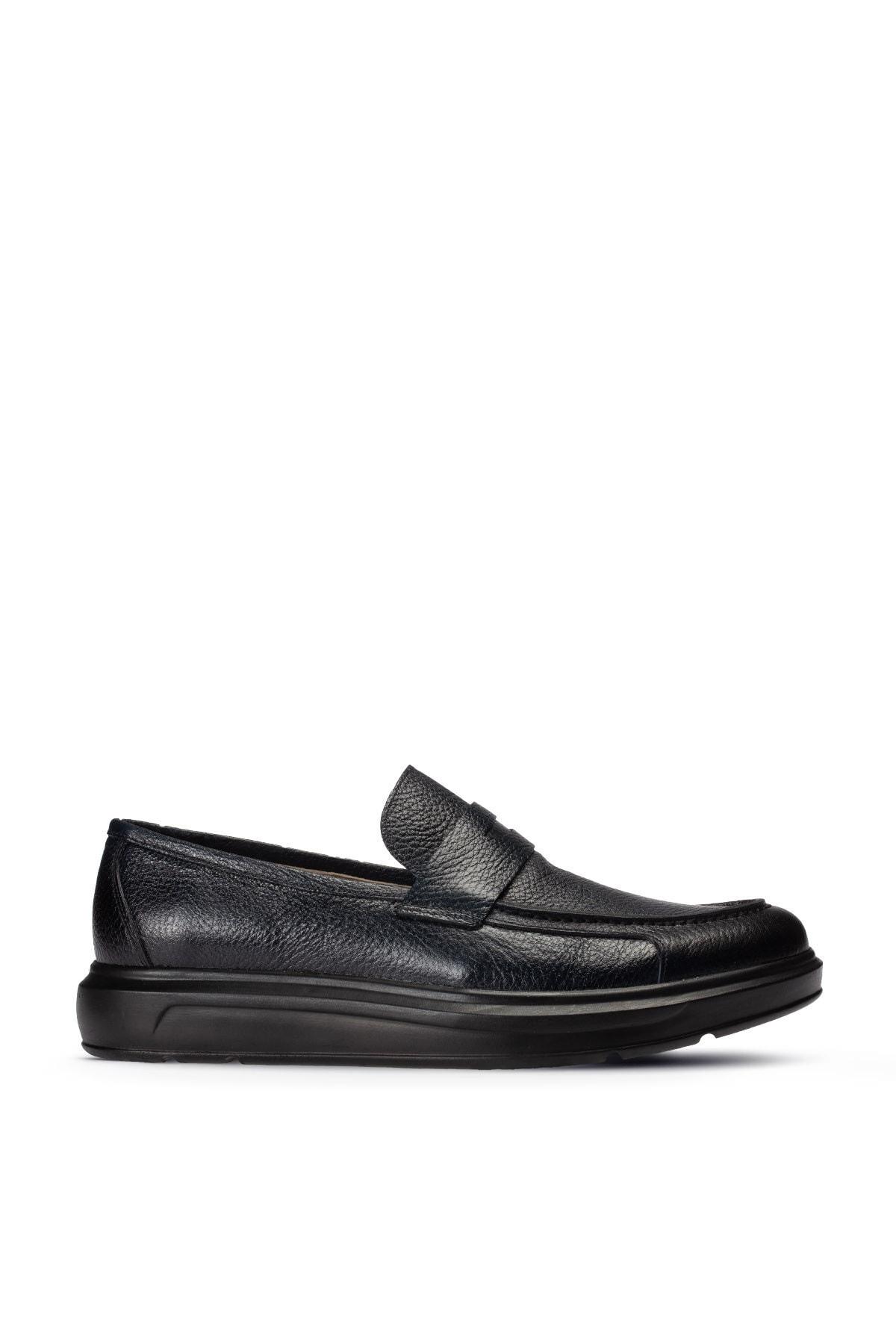 Erkek Lacivert Deri Comfort Loafer