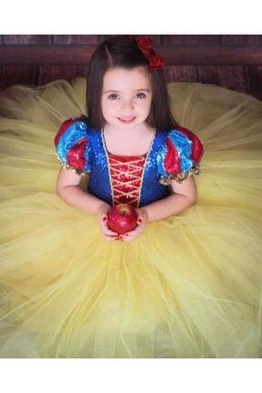 Patiska Nostalji Kız Çocuk Sarı Pamuk Prenses Elbisesi 1