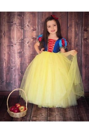Patiska Nostalji Kız Çocuk Sarı Pamuk Prenses Elbisesi 2
