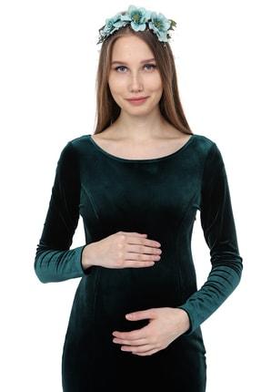 Moda Labio Uzun Kol Kadife Balık Zümrüt Yeşili Hamile Elbisesi 1