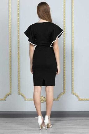 bayansepeti Kadın Siyah Esnek Krep Kumaş Kruvaze Yaka  Mini Elbise 1