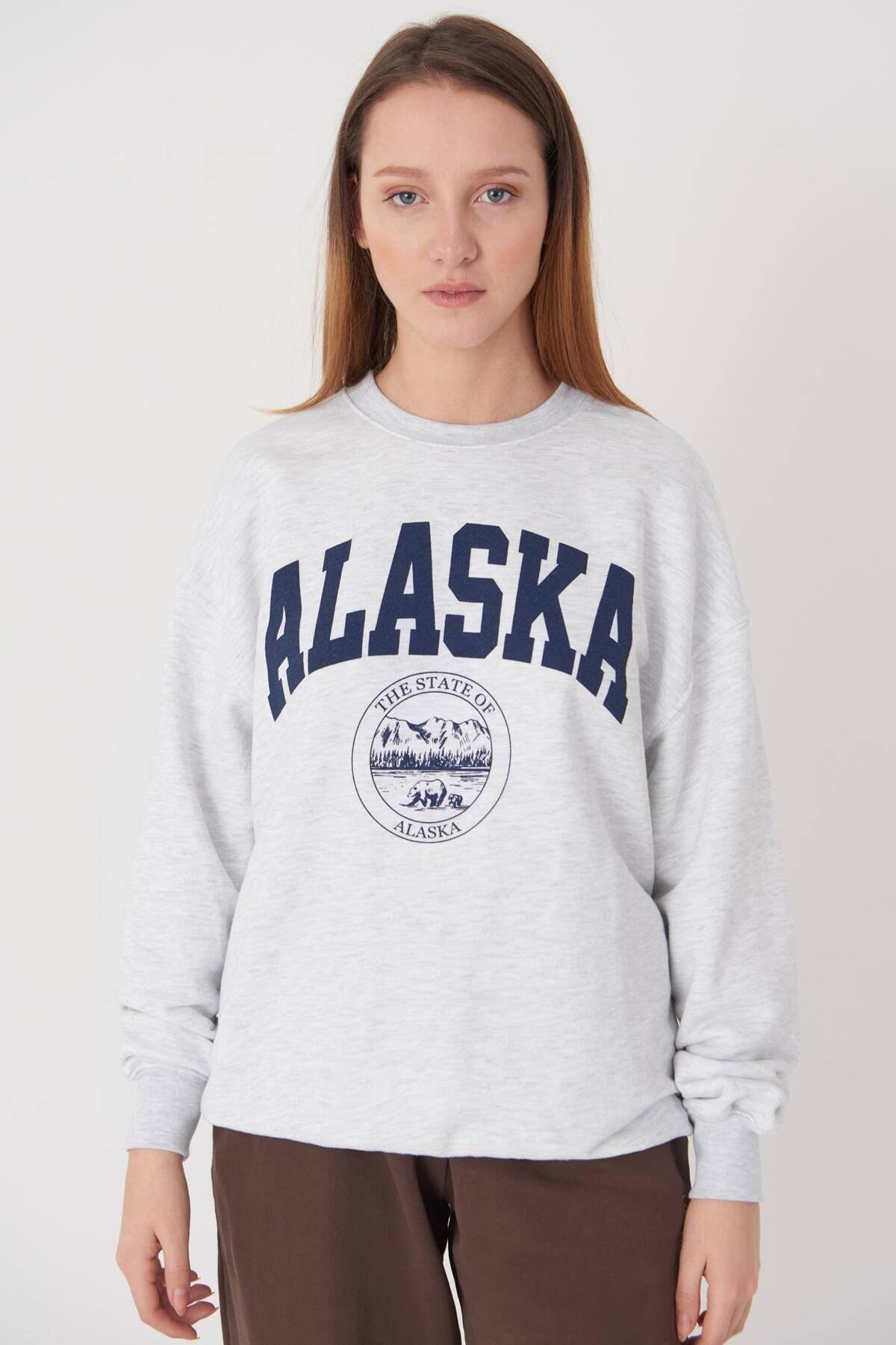 Addax Kadın Kar Melanj Baskılı Sweatshirt S9516 - W4 Adx-0000023575 1