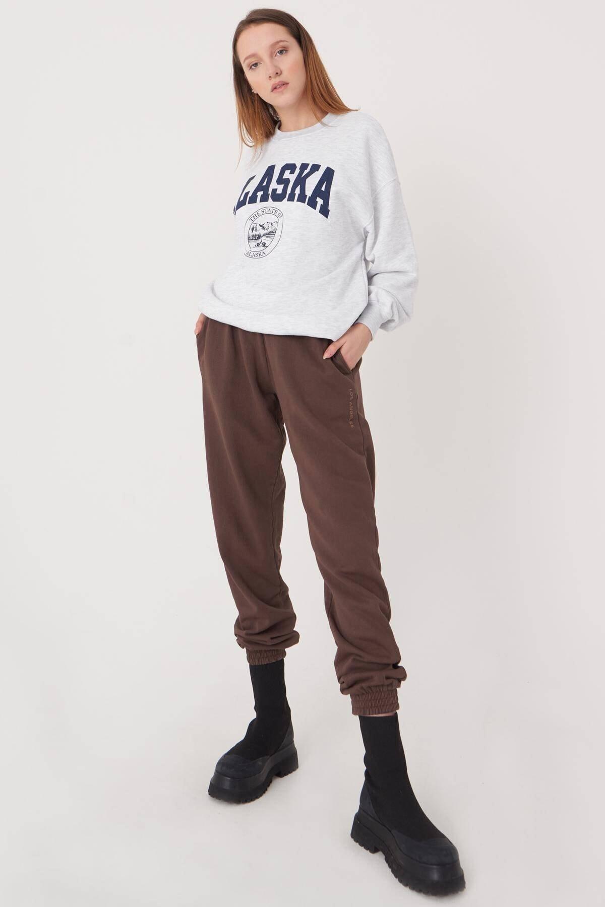 Addax Kadın Kar Melanj Baskılı Sweatshirt S9516 - W4 Adx-0000023575 2