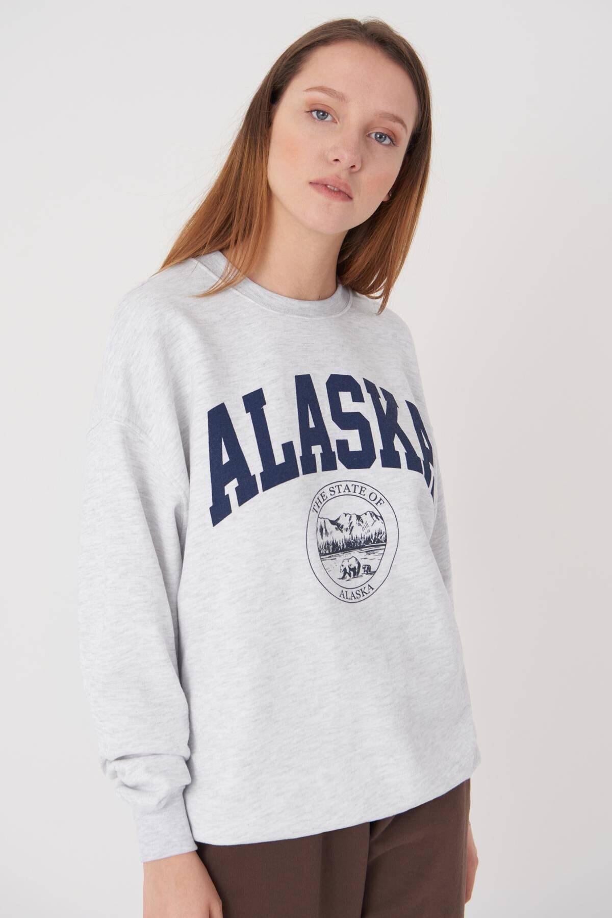 Addax Kadın Kar Melanj Baskılı Sweatshirt S9516 - W4 Adx-0000023575 4
