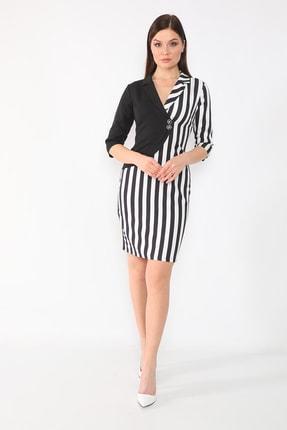 etselements Kadın Siyah Truvakar Kol Çizgili Kruvaze Ve Düğmeli Ofis Elbisesi 0