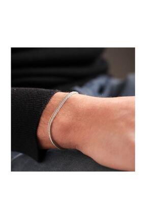 MedBlack Jewelry Unisex Gümüş Renk Tilki Kuyruğu Zincir Bileklik 1