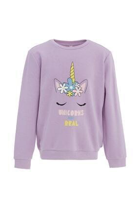 Defacto Kız Çocuk Unicorn Baskılı Selanik Kumaş Sweatshirt 0