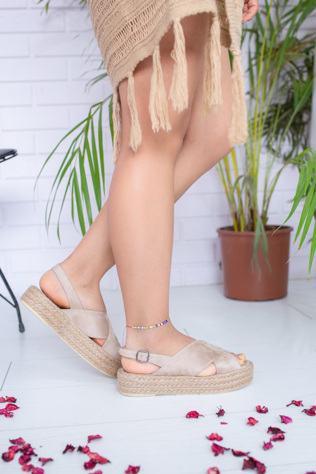 Kadın Ten Süet Sandalet Md1026-123-0001