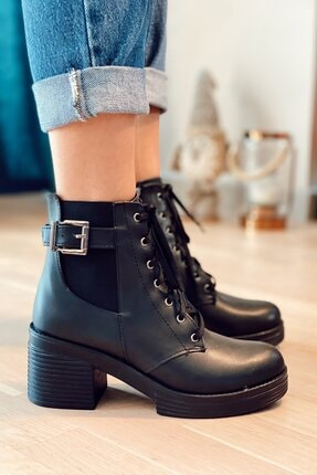 Nil Shoes Siyah Yuvi Cilt Bot 0