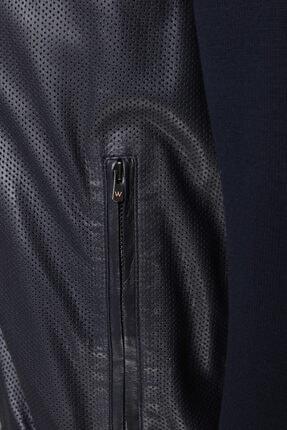 W Collection Erkek Lacivert Deri Ceket 3