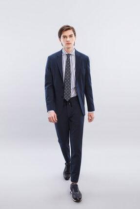W Collection Erkek Lacivert Mavi Çizgili Blazer Ceket 0