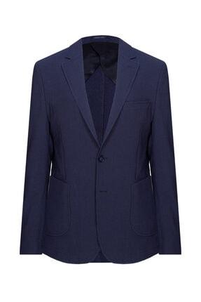 W Collection Erkek Lacivert Mavi Çizgili Blazer Ceket 1