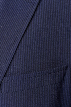 W Collection Erkek Lacivert Mavi Çizgili Blazer Ceket 4
