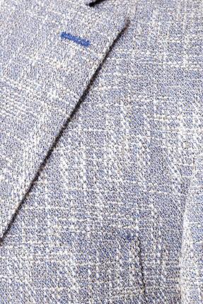 W Collection Erkek Mavi Bayaz Desenli Ceket 3