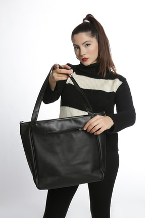 Etka Çanta Kadın Siyah Soft Salaş Omuz Çantası 3