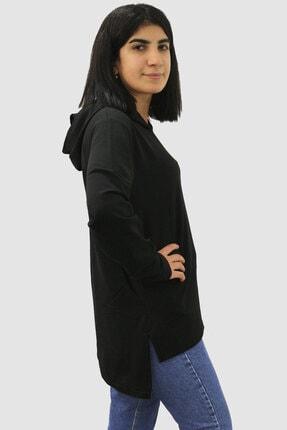 Rock & Roll Kadın Siyah Düz Baskısız Arkası Uzun Yanları Yırtmaçlı Kapşonlu Sweatshirt 1