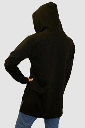 Rock & Roll Kadın Siyah Düz Baskısız Arkası Uzun Yanları Yırtmaçlı Kapşonlu Sweatshirt 2