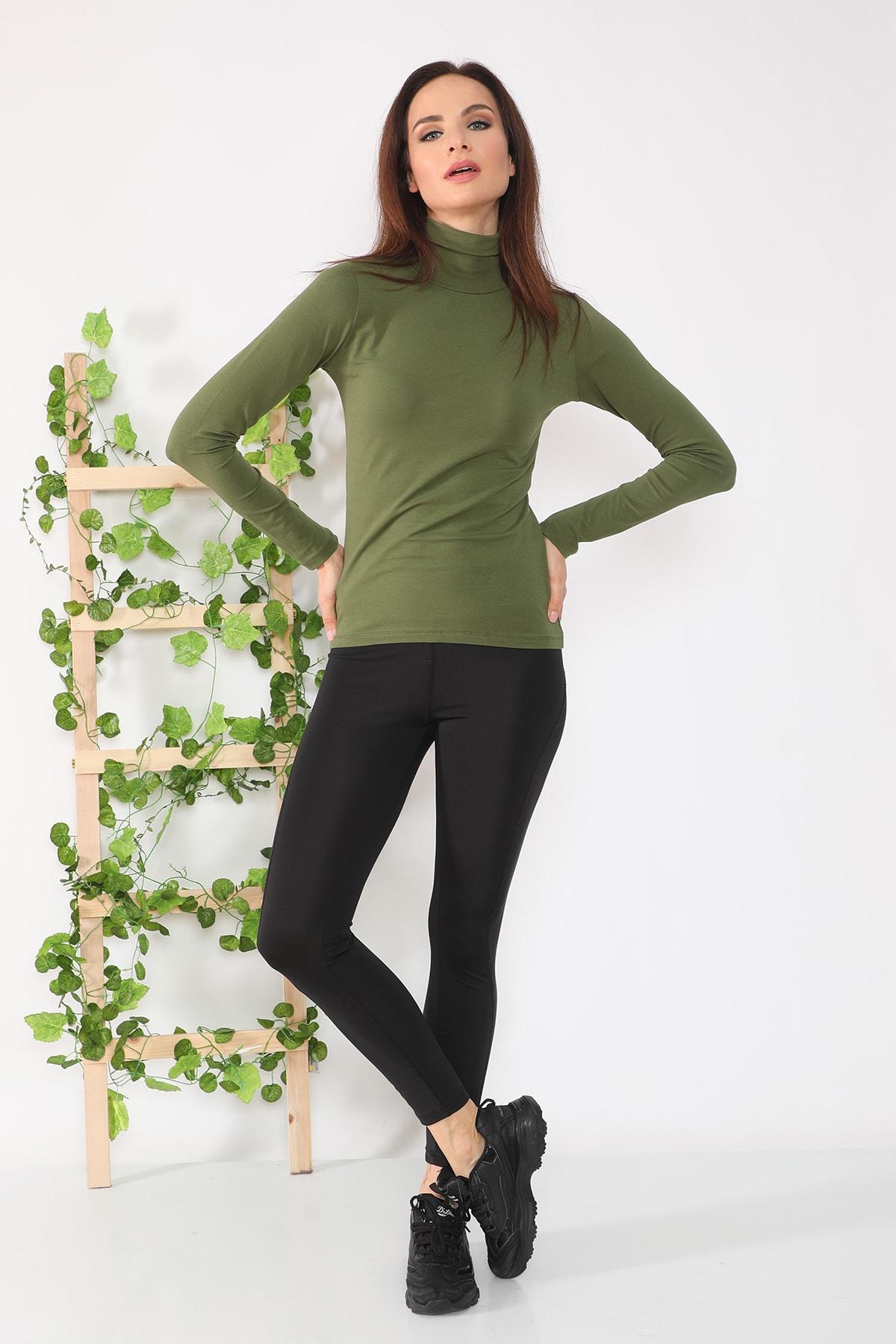 Kadın Haki Yeşili Uzun Kollu Tam Boğazlı Body