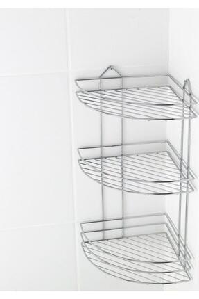Fevito Krom Üç Katlı Banyo Köşeliği Banyo Askısı Süngerlik Ek-03 0