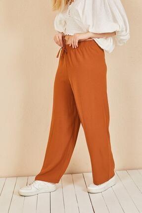 Moda Bu Kadın Kiremit Beli Lastikli Bol Paça Salaş Yazlık Pantolon 2