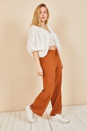 Moda Bu Kadın Kiremit Beli Lastikli Bol Paça Salaş Yazlık Pantolon 3