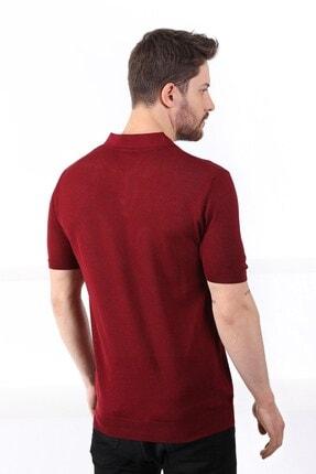 Ferraro Erkek   Bordo Polo Yaka Düğmeli  Pamuk Triko T-Shirt 4