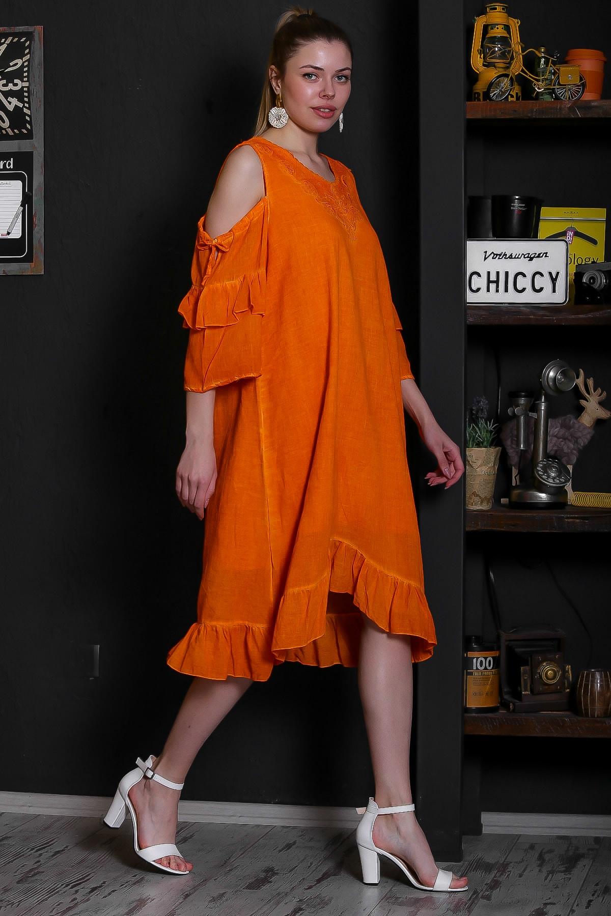 Chiccy Kadın Turuncu Dantel Yakalı Omuzları Pencereli Volanlı Astarlı Yıkamalı Elbise M10160000EL95361 2