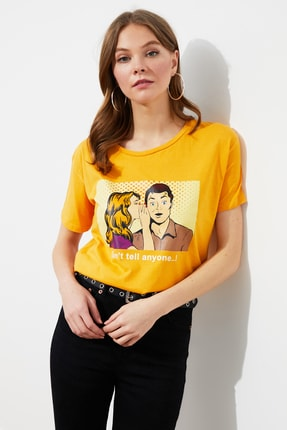 TRENDYOLMİLLA Hardal Baskılı Semifitted Örme T-shirt TWOSS19VG0126 0