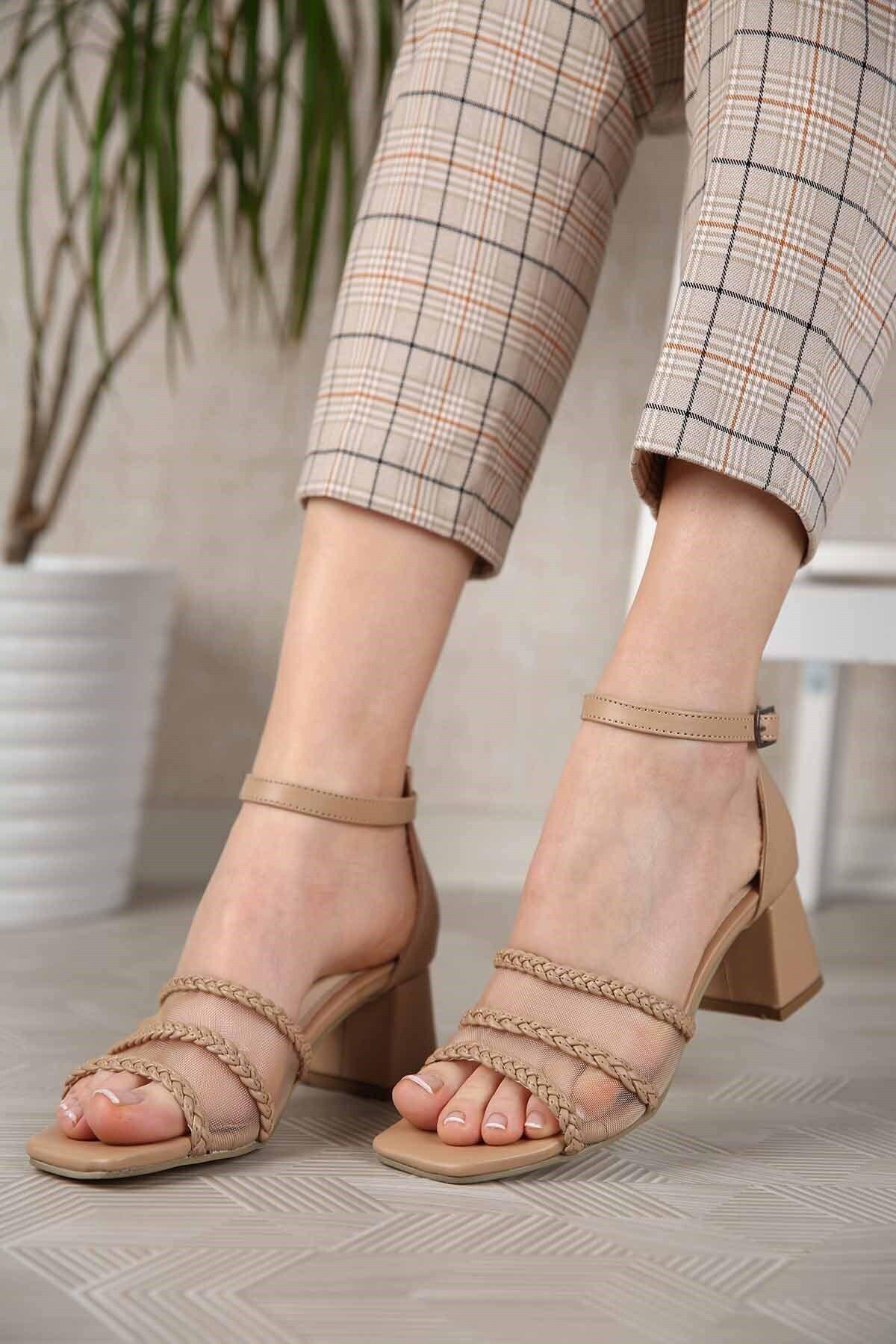 Kadın Nude Cilt File Örgü Bantlı Topuklu Sandalet