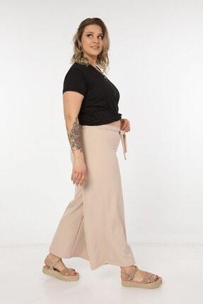 Womenice Kadın Krem Kurdelalı Bol Paça Pantolon 3