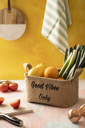 Volipa Hasır Jüt Organizer Sepet, Banyo Ve Mutfak Düzenleyici Dekoratif Katlanabilir Sepet 18*25*15 0