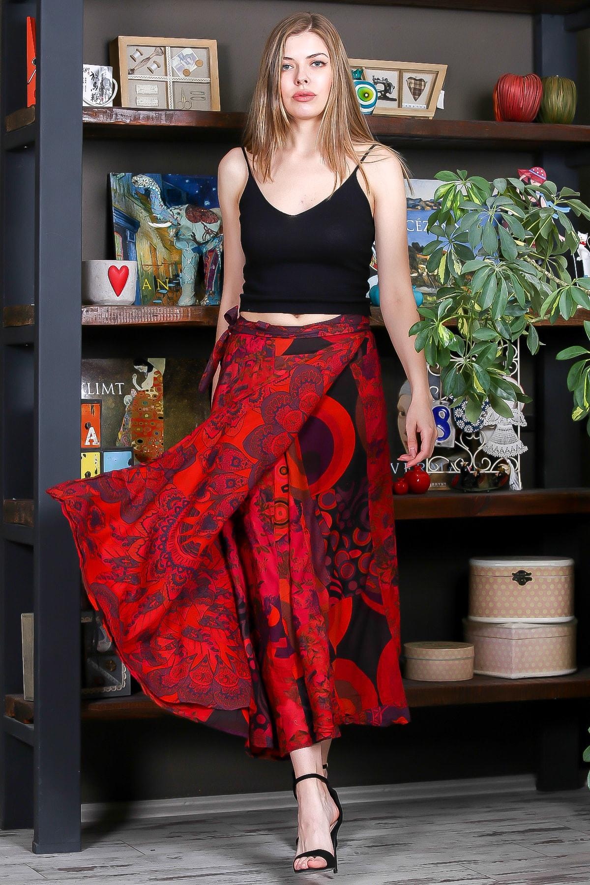 Kadın Kırmızı Patch Work Dikişli Anvelop Dokuma Etek M10110000ET99264