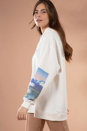 Pattaya Kadın Beyaz Kol Detaylı Kapşonlu Sweatshirt P20W-4128 3