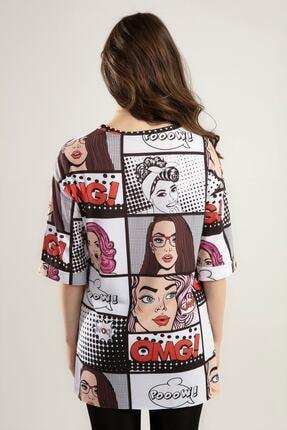 Pattaya Kadın Baskılı Yırtmaçlı Oversize Tişört Y20s110-0386 3