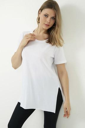 Vis a Vis Kadın Beyaz Yanları Yırtmaçlı Uzun T-shirt 2