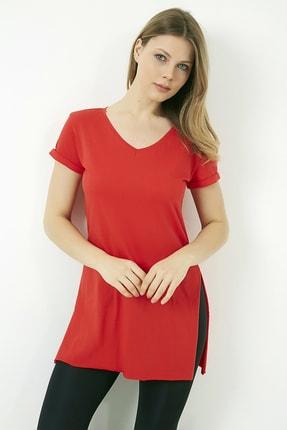 Vis a Vis Kadın Kırmızı V Yaka Yırtmaçlı Uzun Tshirt 1