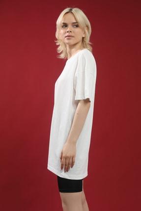 Grenj Fashion Beyaz Pamuk Bisiklet Yaka Oversize Örme Tshirt 3