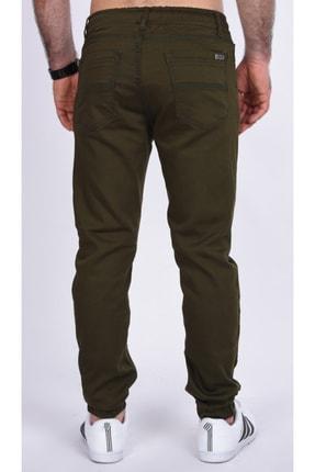 BLACK STEEL Erkek Yeşili Renk Beli Ve Paçası Lastikli Kargo Cepsiz Nefti  Pantolon-1453 2