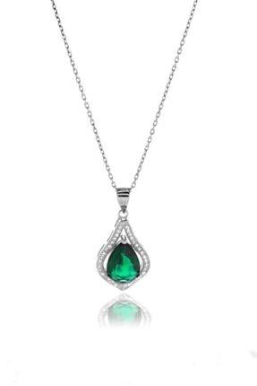 Glint Point Yeşil Damla Taşlı Zarif Gümüş Kolye 0