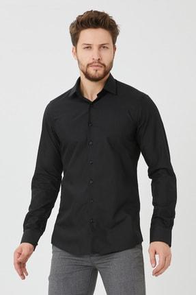 Cosmen Erkek Siyah Slim Fit Düz Gömlek 1