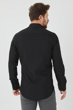 Cosmen Erkek Siyah Slim Fit Düz Gömlek 3