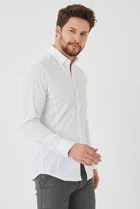 Cosmen Erkek Beyaz Slim Fit Poplin Likralı Gömlek 1