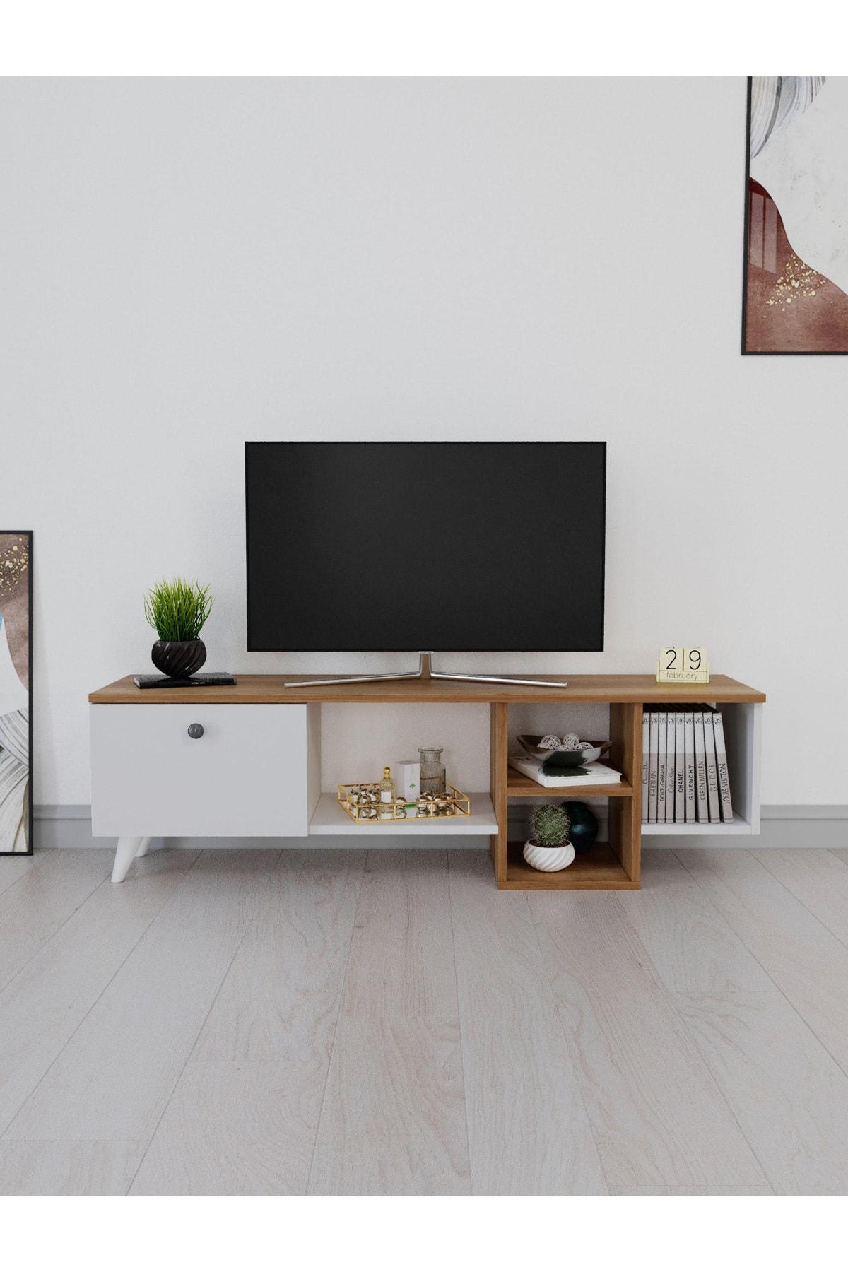 Televizyon Sehpası Kutu Raflı Tv Ünitesi Salon Mobilyası Ceviz