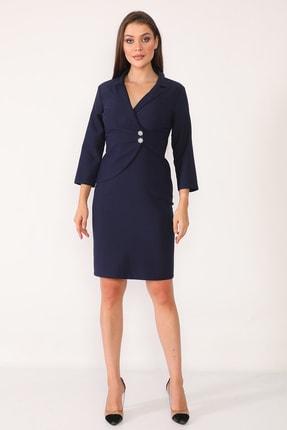 Element's Kadın Lacivert Kruvaze Yaka Ve Ön Kısmı Düğme Detaylı Ofis Elbise 0